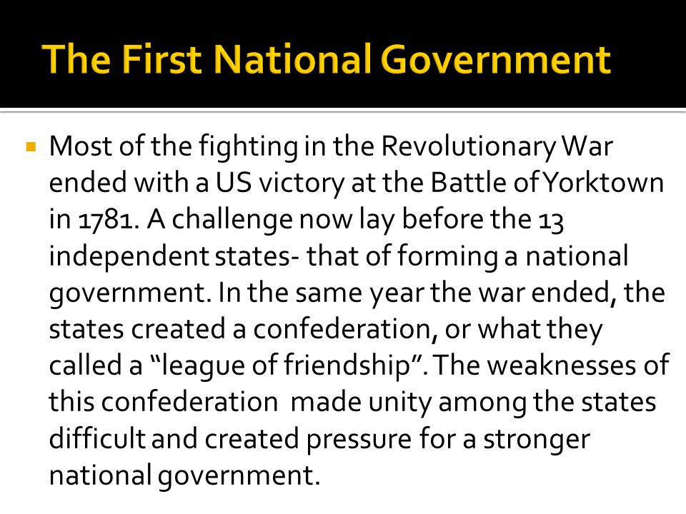 The First National Government