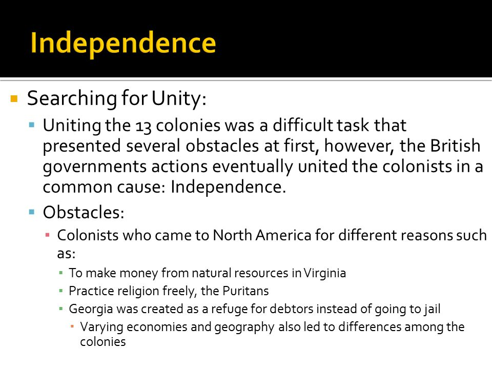 Independence Searching for Unity: