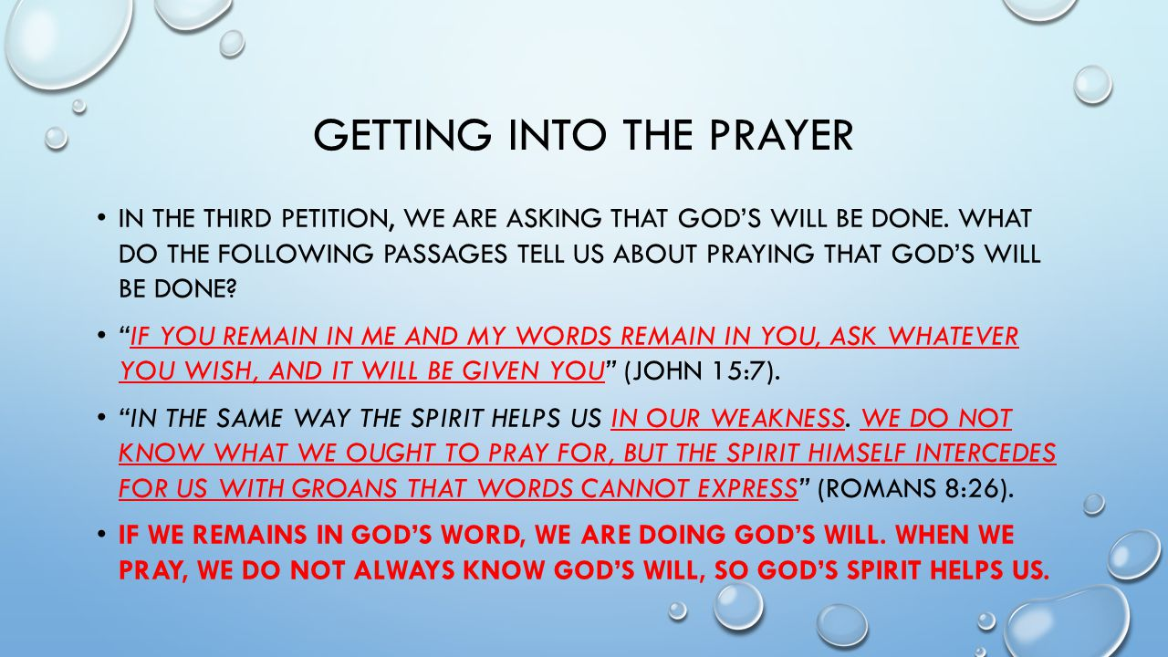 Getting Into the Prayer