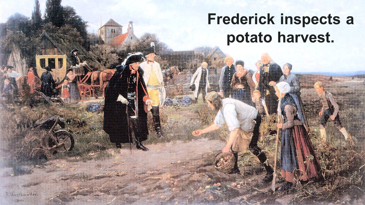Frederick inspects a potato harvest.