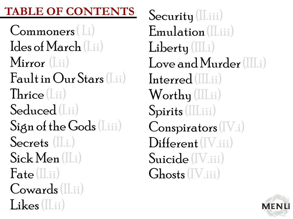 Fault in Our Stars (I.ii) Interred (III.ii) Thrice (I.ii)