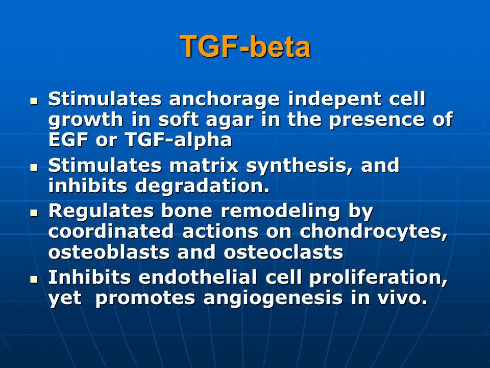 TGF-beta Stimulates anchorage indepent cell growth in soft agar in the presence of EGF or TGF-alpha.