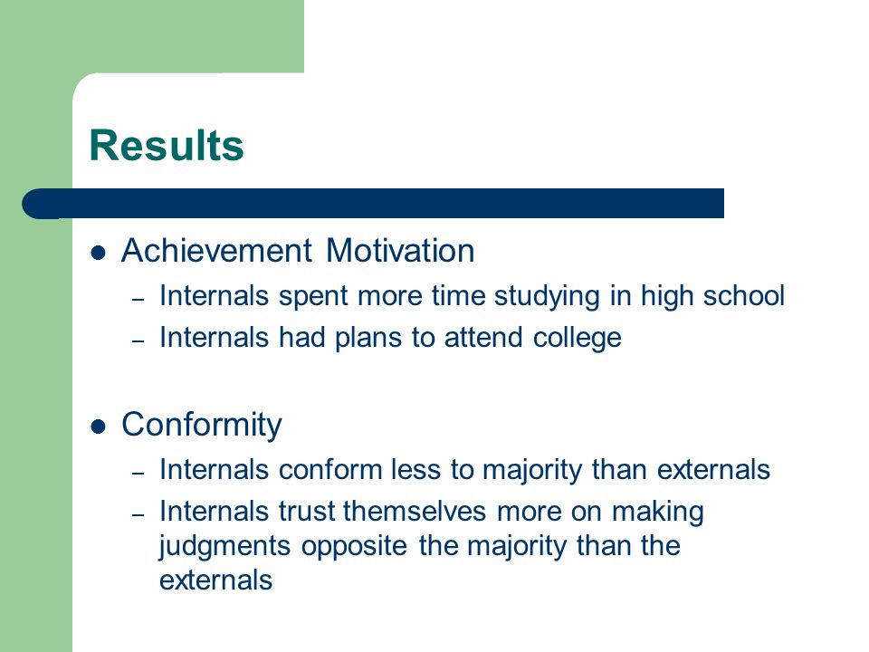 Results Achievement Motivation Conformity