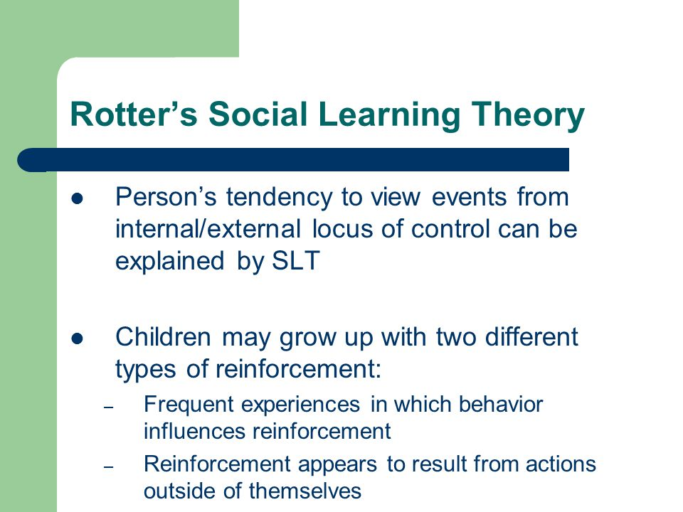 Rotter's Social Learning Theory