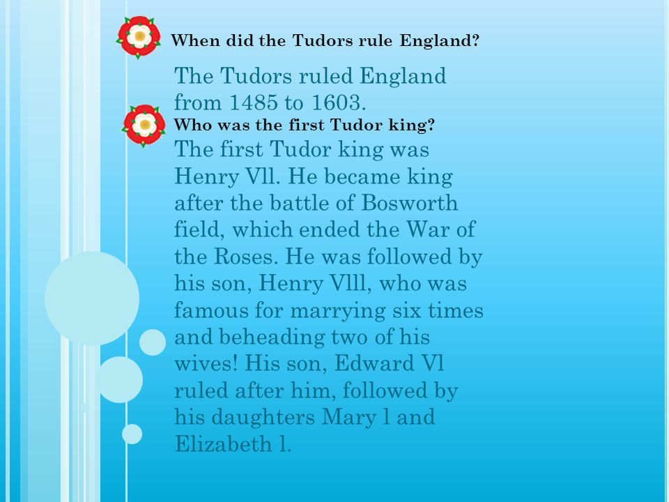 When did the Tudors rule England
