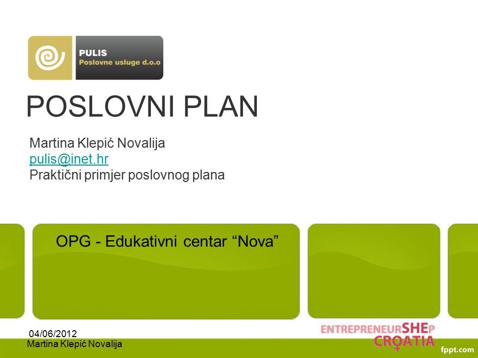 POSLOVNI PLAN OPG - Edukativni centar Nova