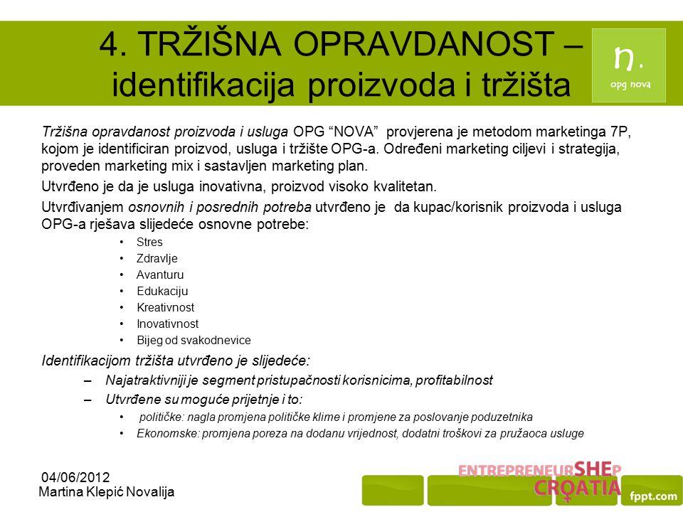 4. TRŽIŠNA OPRAVDANOST – identifikacija proizvoda i tržišta