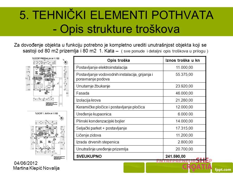 5. TEHNIČKI ELEMENTI POTHVATA - Opis strukture troškova