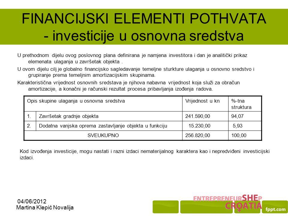 FINANCIJSKI ELEMENTI POTHVATA - investicije u osnovna sredstva