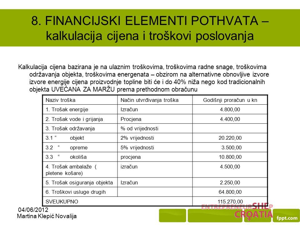 8. FINANCIJSKI ELEMENTI POTHVATA – kalkulacija cijena i troškovi poslovanja