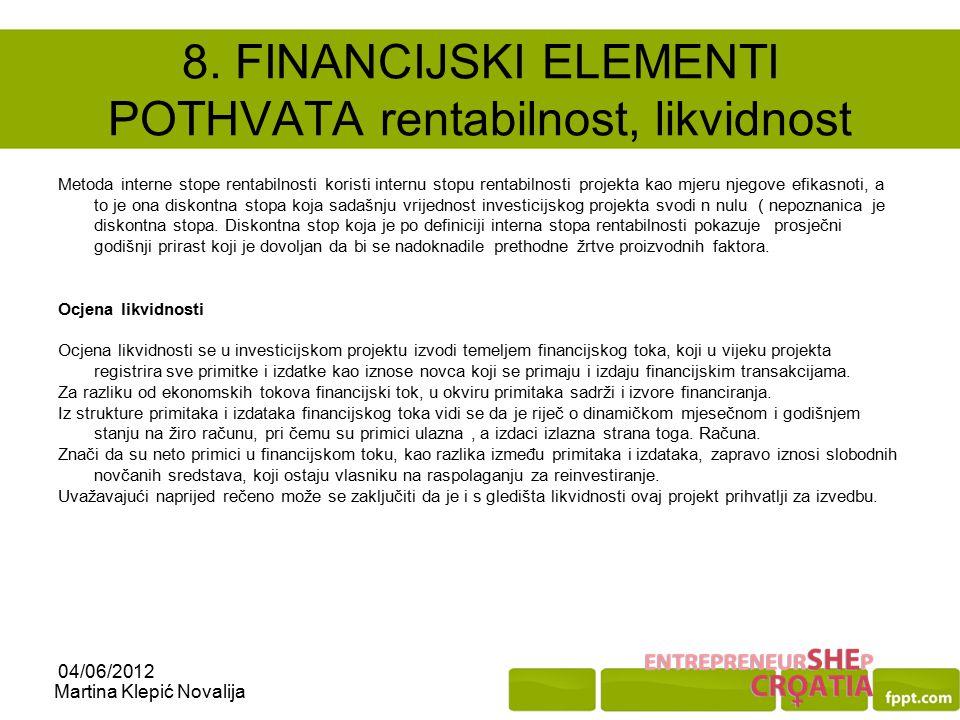 8. FINANCIJSKI ELEMENTI POTHVATA rentabilnost, likvidnost
