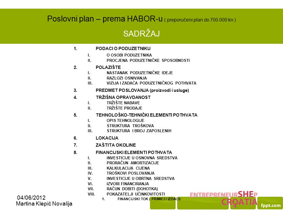 Poslovni plan – prema HABOR-u ( preporučeni plan do 700