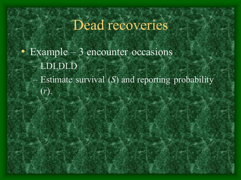 Dead recoveries Example – 3 encounter occasions LDLDLD