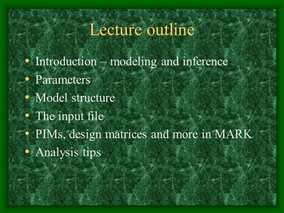 Lecture outline Introduction – modeling and inference Parameters