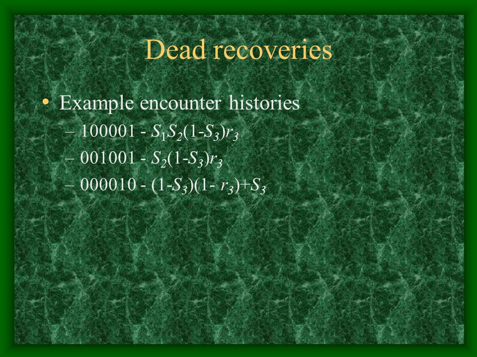 Dead recoveries Example encounter histories 100001 - S1S2(1-S3)r3
