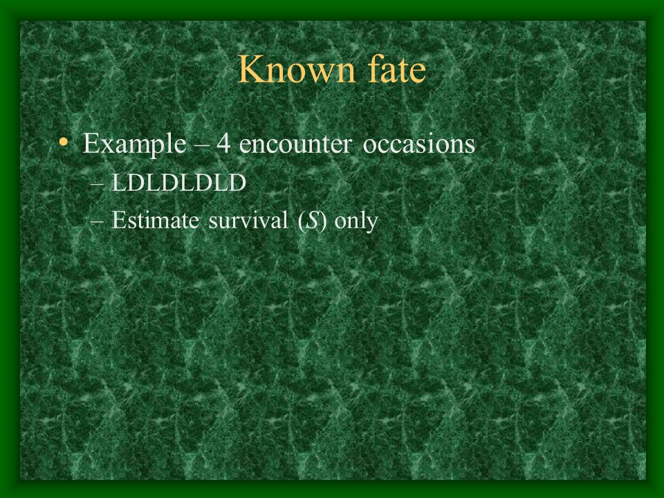 Known fate Example – 4 encounter occasions LDLDLDLD