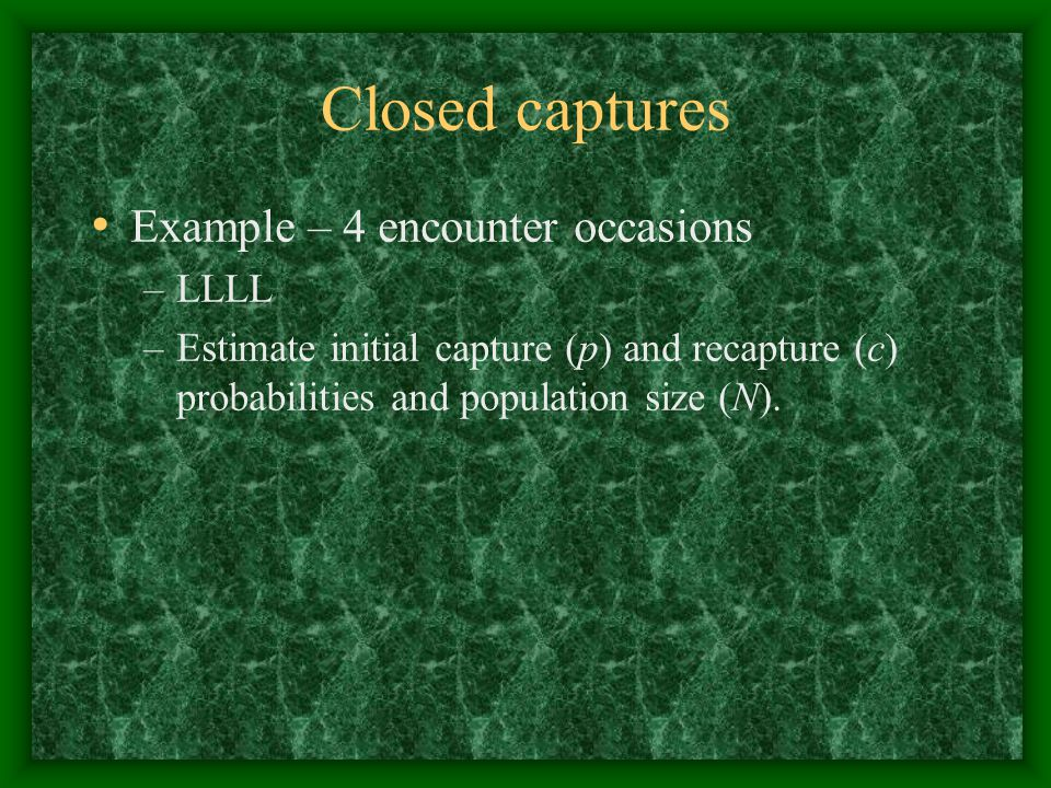 Closed captures Example – 4 encounter occasions LLLL