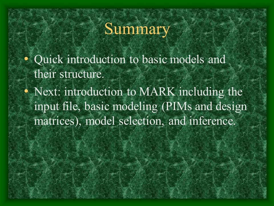 Summary Quick introduction to basic models and their structure.