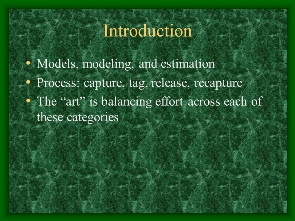 Introduction Models, modeling, and estimation