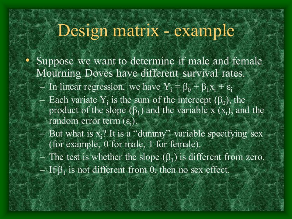 Design matrix - example
