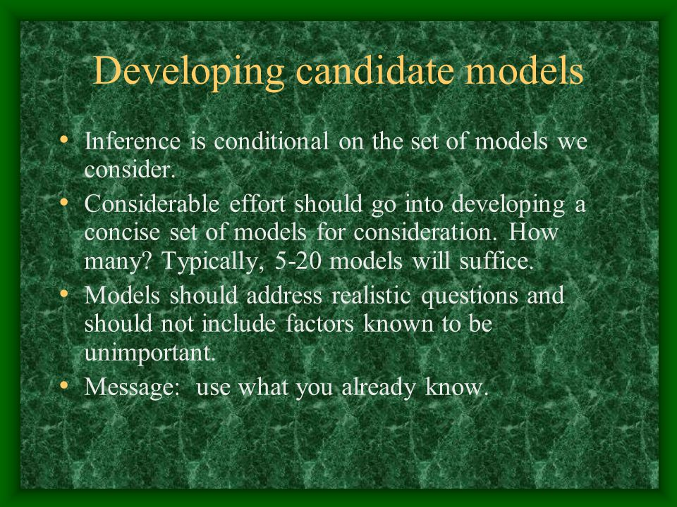 Developing candidate models