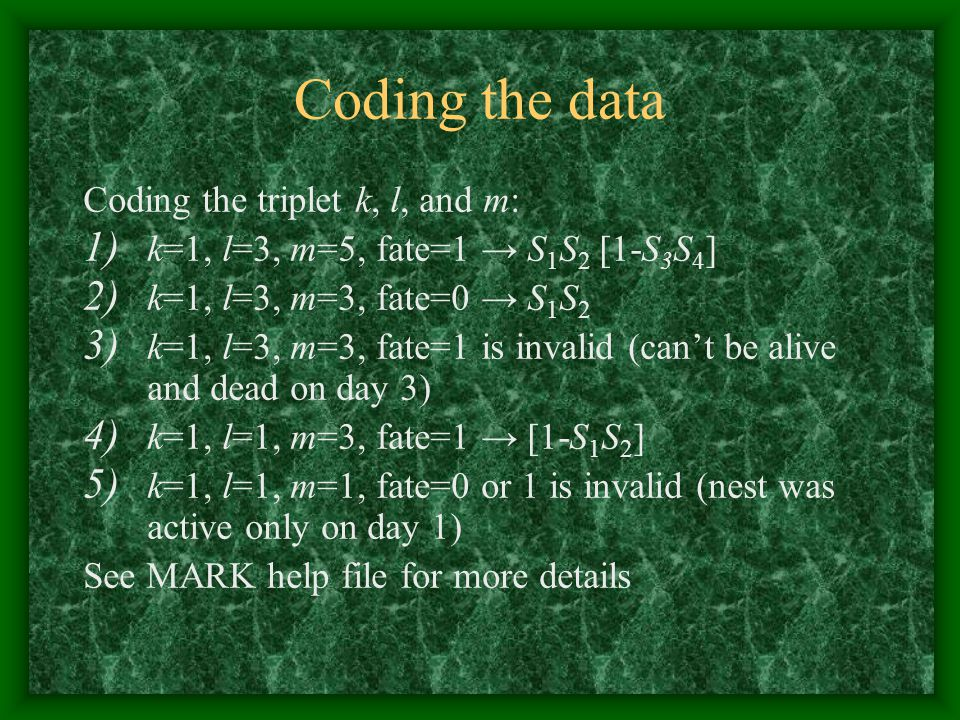 Coding the data Coding the triplet k, l, and m: