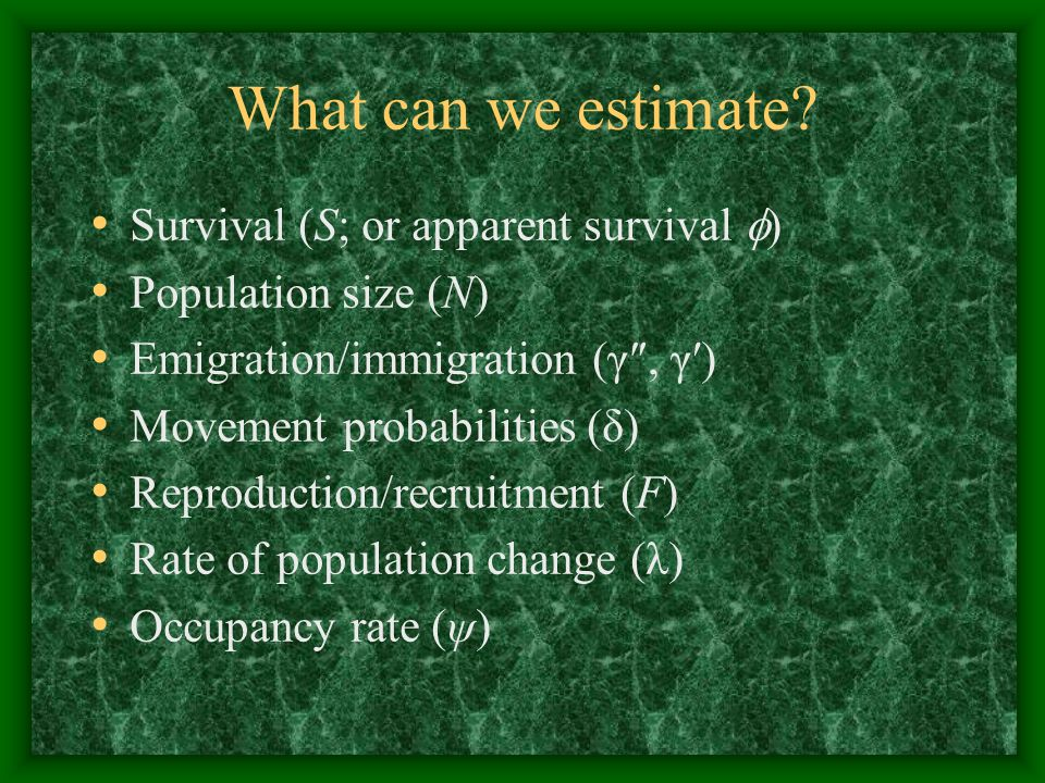 What can we estimate Survival (S; or apparent survival )