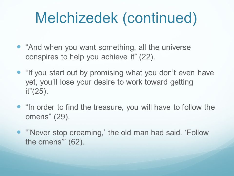Melchizedek (continued)