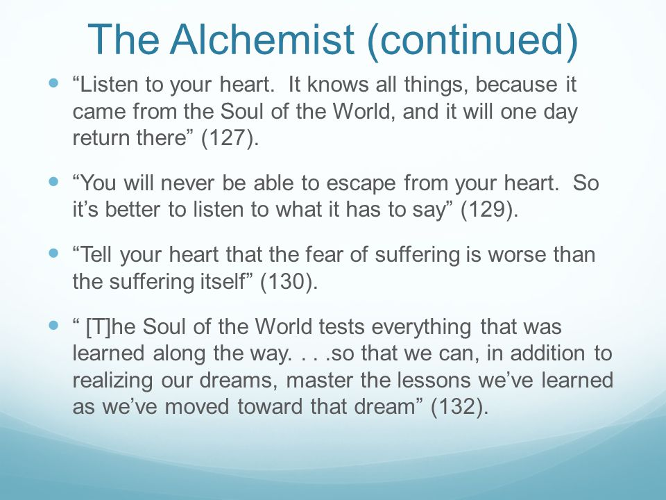 The Alchemist (continued)