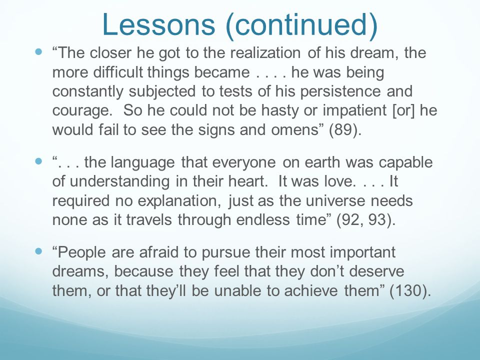 Lessons (continued)