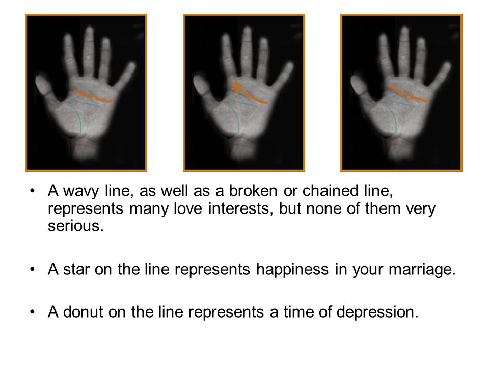 A wavy line, as well as a broken or chained line, represents many love interests, but none of them very serious.