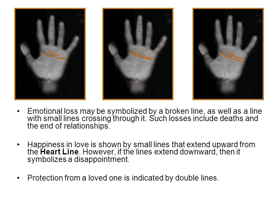 Emotional loss may be symbolized by a broken line, as well as a line with small lines crossing through it. Such losses include deaths and the end of relationships.