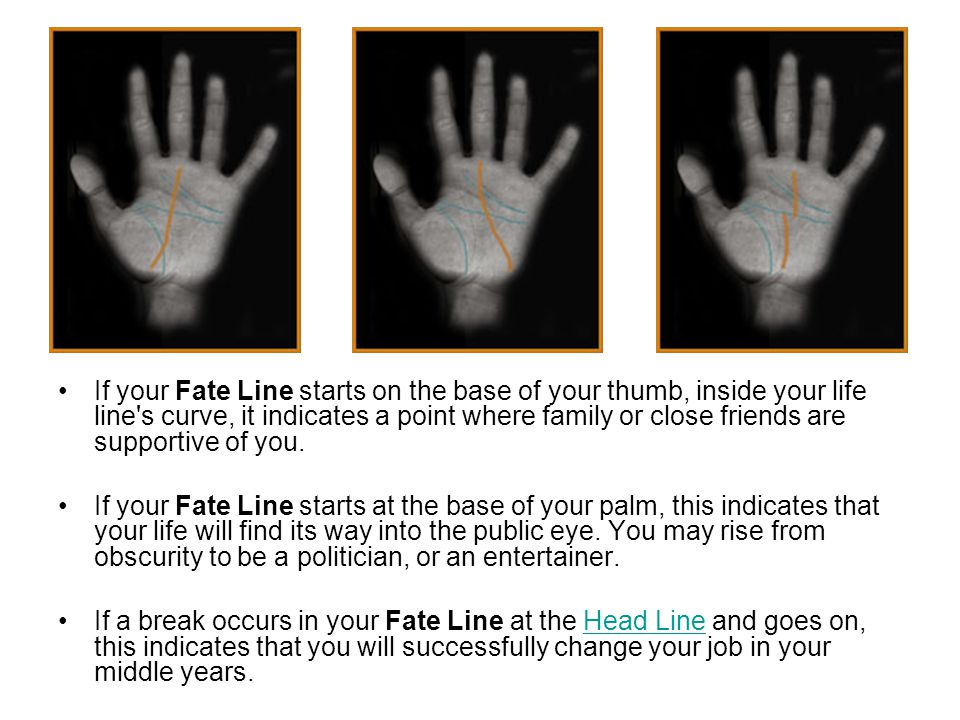 If your Fate Line starts on the base of your thumb, inside your life line s curve, it indicates a point where family or close friends are supportive of you.