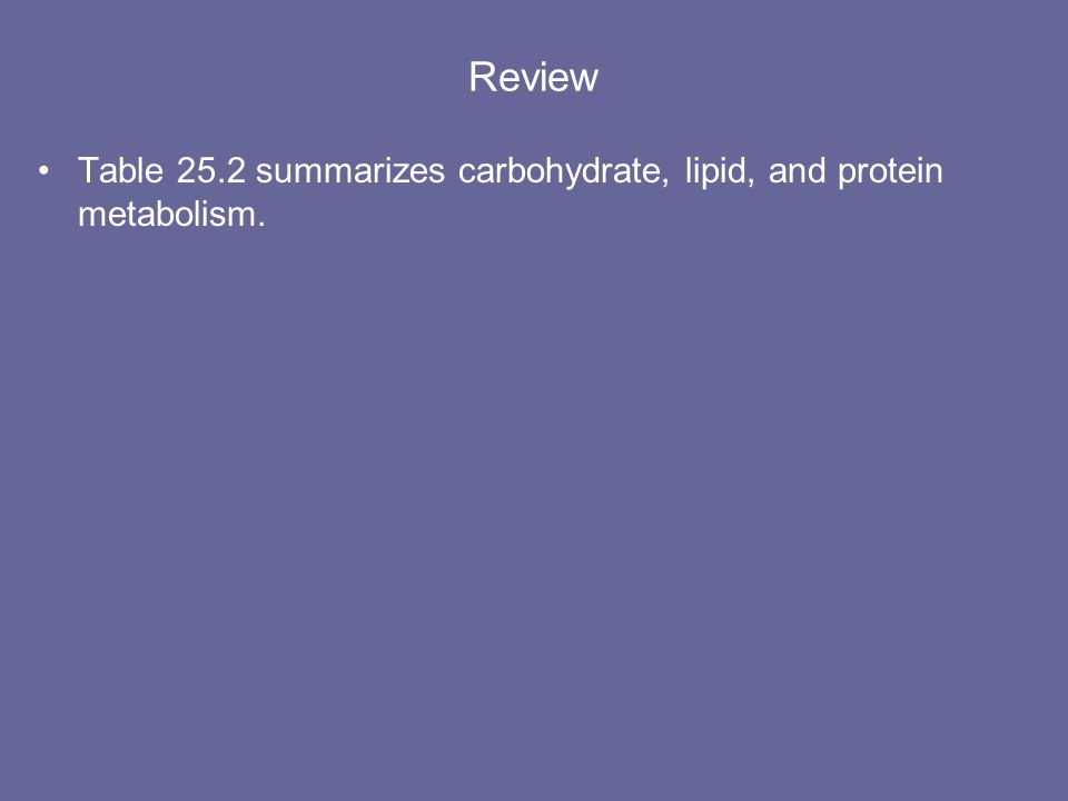 Review Table 25.2 summarizes carbohydrate, lipid, and protein metabolism.