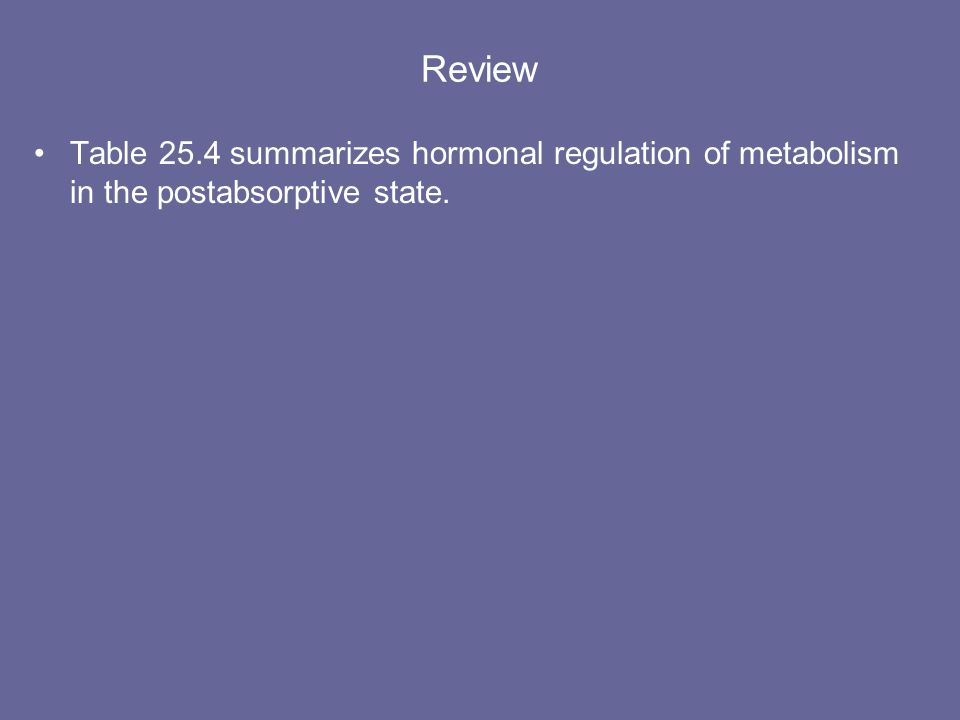 Review Table 25.4 summarizes hormonal regulation of metabolism in the postabsorptive state.