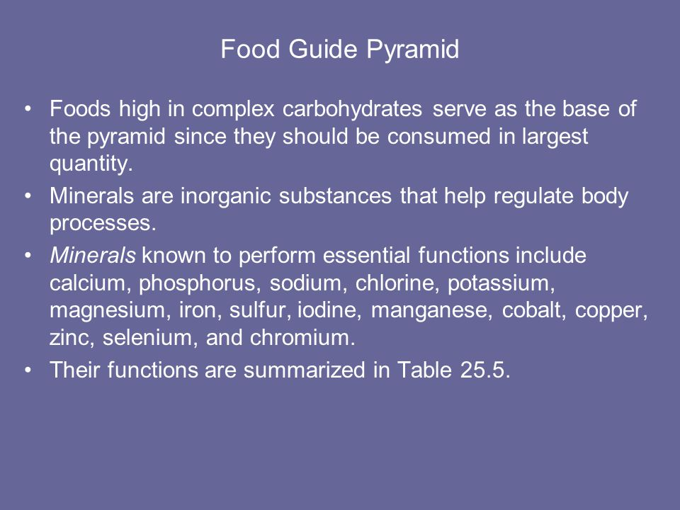 Food Guide Pyramid Foods high in complex carbohydrates serve as the base of the pyramid since they should be consumed in largest quantity.