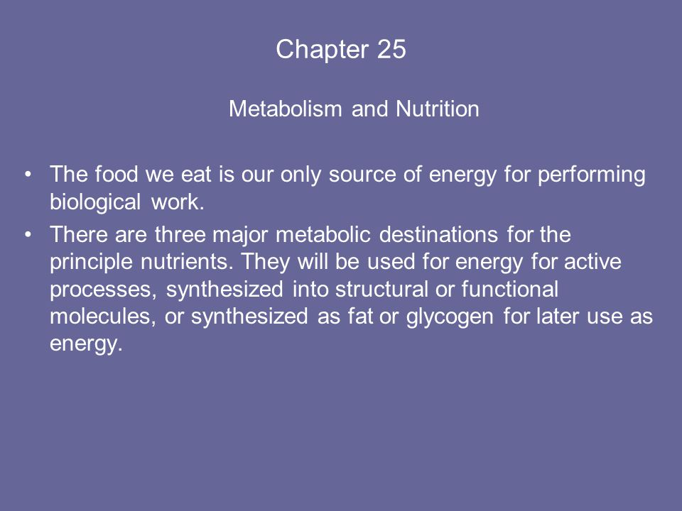 Chapter 25 Metabolism and Nutrition