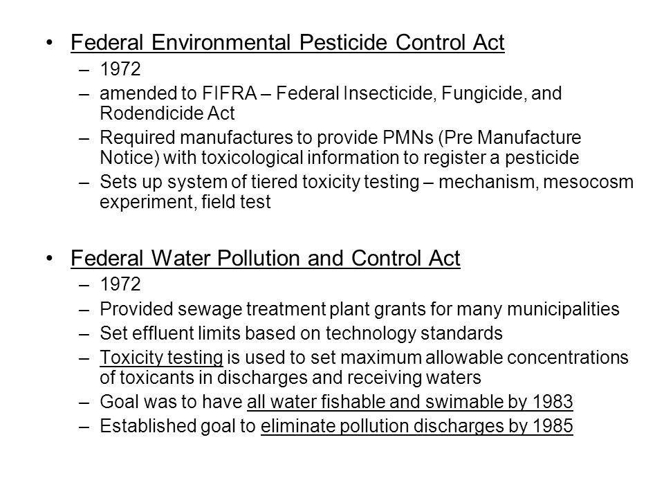 Federal Environmental Pesticide Control Act