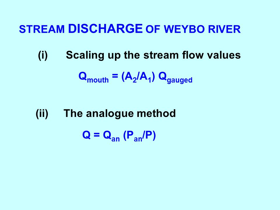 STREAM DISCHARGE OF WEYBO RIVER