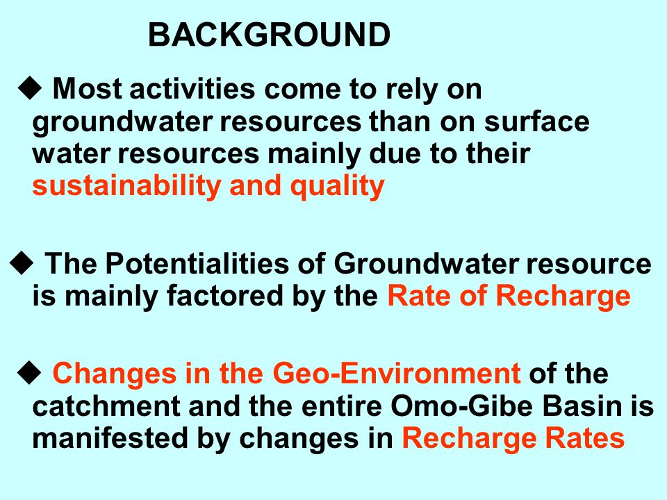 BACKGROUND  Most activities come to rely on groundwater resources than on surface water resources mainly due to their sustainability and quality