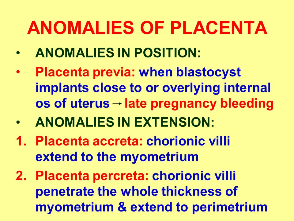ANOMALIES OF PLACENTA ANOMALIES IN POSITION: