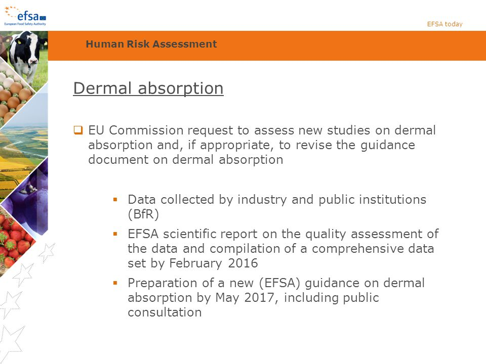 EFSA today Human Risk Assessment. Dermal absorption.