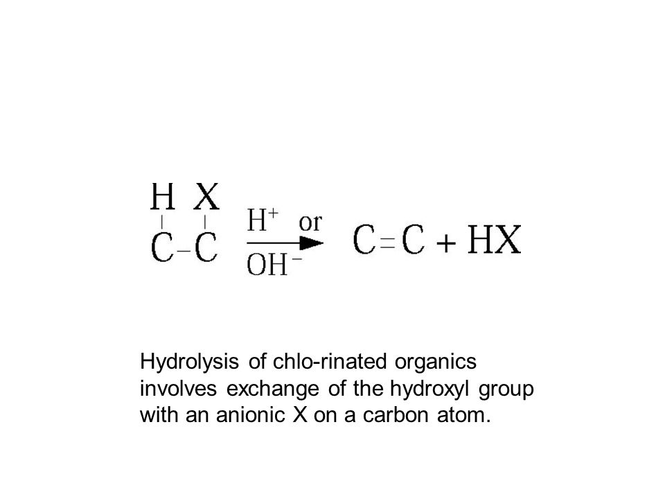 Hydrolysis of chlo-rinated organics involves exchange of the hydroxyl group with an anionic X on a carbon atom.