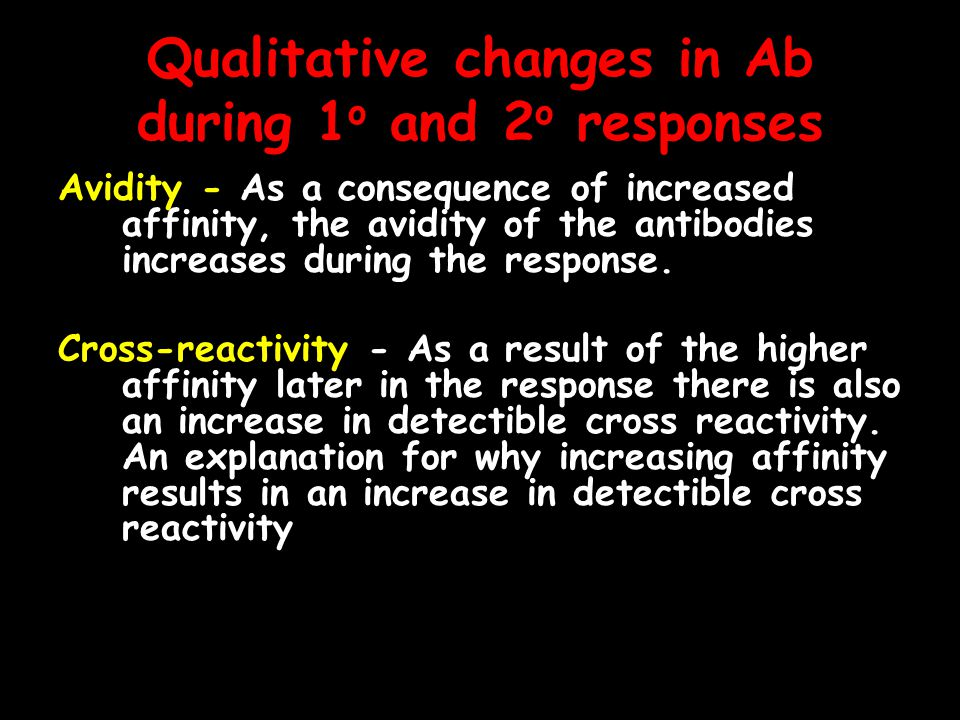 Qualitative changes in Ab during 1o and 2o responses