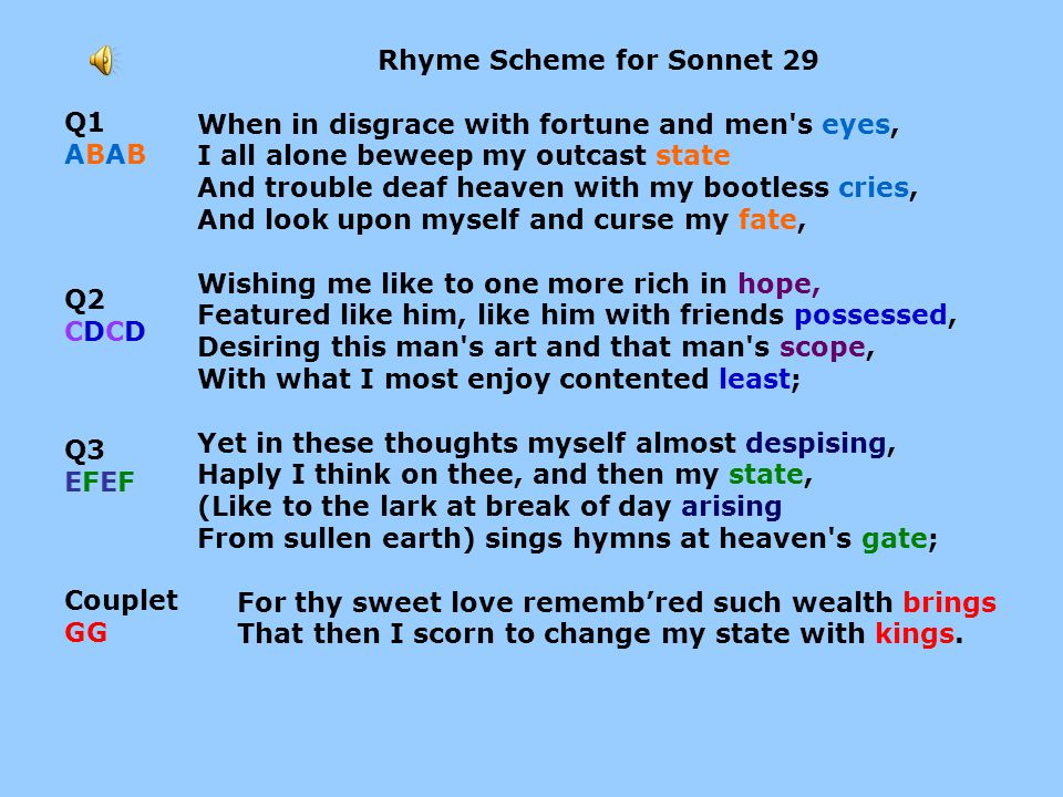 Rhyme Scheme for Sonnet 29