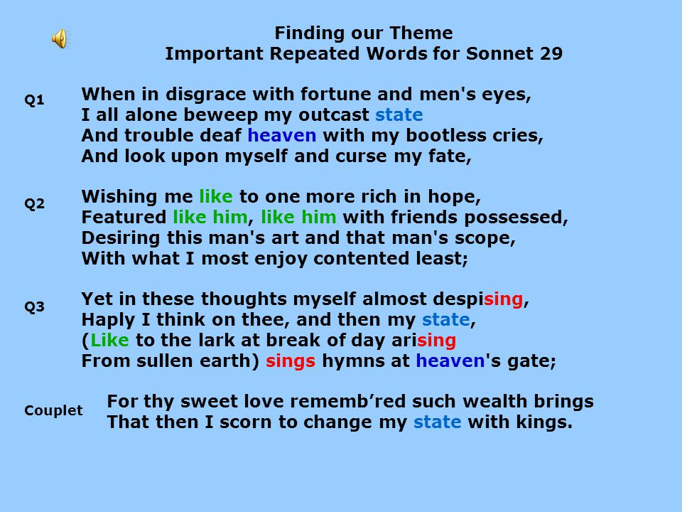 Important Repeated Words for Sonnet 29