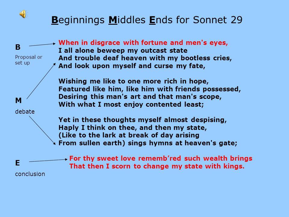 Beginnings Middles Ends for Sonnet 29
