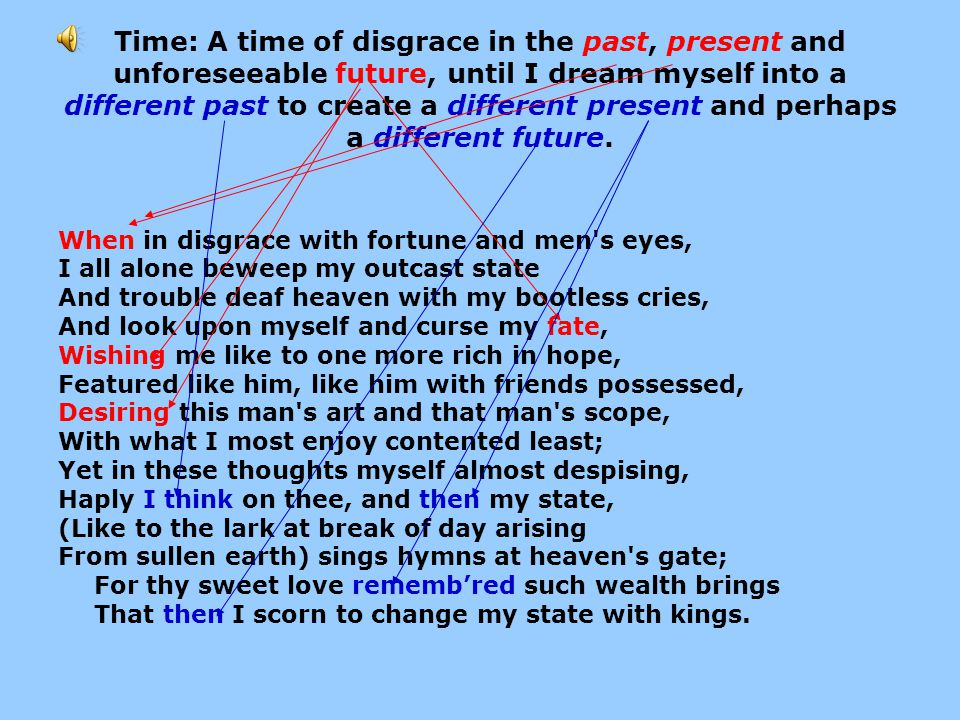 Time: A time of disgrace in the past, present and unforeseeable future, until I dream myself into a different past to create a different present and perhaps a different future.