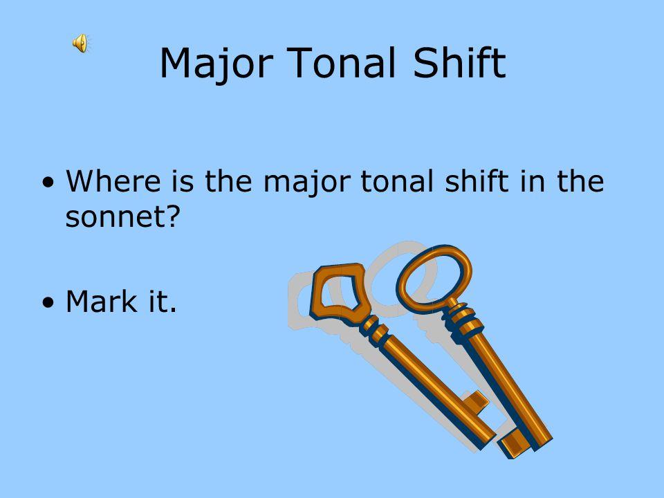 Major Tonal Shift Where is the major tonal shift in the sonnet