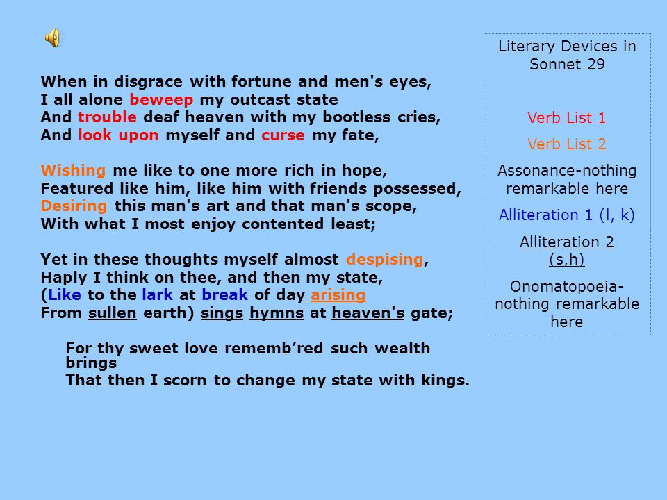 Literary Devices in Sonnet 29